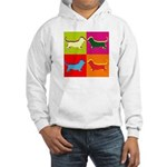 Basset Hound Silhouette Pop Art Hooded Sweatshirt