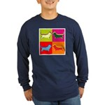 Basset Hound Silhouette Pop Art Long Sleeve Dark T