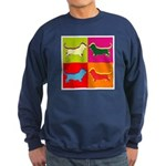 Basset Hound Silhouette Pop Art Sweatshirt (dark)