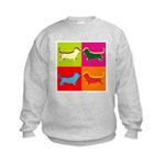 Basset Hound Silhouette Pop Art Kids Sweatshirt