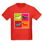 Basset Hound Silhouette Pop Art Kids Dark T-Shirt