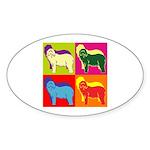 Bearded Collie Silhouette Pop Art Sticker (Oval)