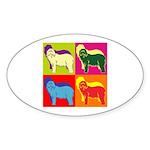 Bearded Collie Silhouette Pop Art Sticker (Oval 10