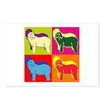 Bearded Collie Silhouette Pop Art Postcards (Packa
