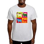 Bearded Collie Silhouette Pop Art Light T-Shirt