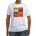 Bearded Collie Silhouette Pop Art Fitted T-Shirt