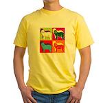 Bearded Collie Silhouette Pop Art Yellow T-Shirt