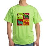 Bearded Collie Silhouette Pop Art Green T-Shirt