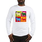Bearded Collie Silhouette Pop Art Long Sleeve T-Sh