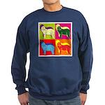 Bearded Collie Silhouette Pop Art Sweatshirt (dark