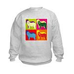 Bearded Collie Silhouette Pop Art Kids Sweatshirt