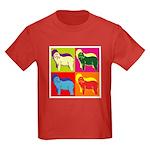 Bearded Collie Silhouette Pop Art Kids Dark T-Shir