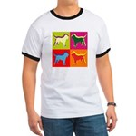 Bloodhound Silhouette Pop Art Ringer T