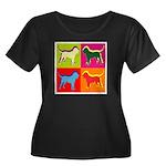 Bloodhound Silhouette Pop Art Women's Plus Size Sc