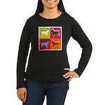 Bloodhound Silhouette Pop Art Women's Long Sleeve