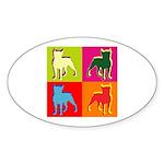 Boston Terrier Silhouette Pop Art Sticker (Oval 10