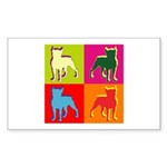 Boston Terrier Silhouette Pop Art Sticker (Rectang