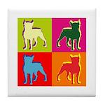 Boston Terrier Silhouette Pop Art Tile Coaster