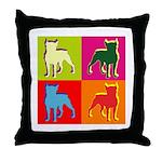 Boston Terrier Silhouette Pop Art Throw Pillow