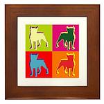 Boston Terrier Silhouette Pop Art Framed Tile