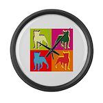 Boston Terrier Silhouette Pop Art Large Wall Clock
