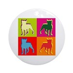Boston Terrier Silhouette Pop Art Ornament (Round)