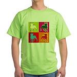 Boston Terrier Silhouette Pop Art Green T-Shirt
