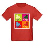 Boston Terrier Silhouette Pop Art Kids Dark T-Shir