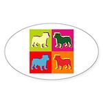 Bulldog Silhouette Pop Art Sticker (Oval)