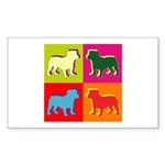 Bulldog Silhouette Pop Art Sticker (Rectangle 10 p