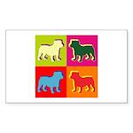 Bulldog Silhouette Pop Art Sticker (Rectangle 50 p