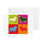 Bulldog Silhouette Pop Art Greeting Cards (Pk of 2