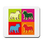Bulldog Silhouette Pop Art Mousepad