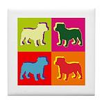 Bulldog Silhouette Pop Art Tile Coaster