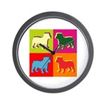 Bulldog Silhouette Pop Art Wall Clock