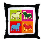 Bulldog Silhouette Pop Art Throw Pillow