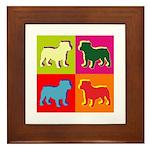 Bulldog Silhouette Pop Art Framed Tile