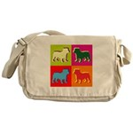 Bulldog Silhouette Pop Art Messenger Bag