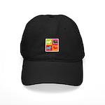Bulldog Silhouette Pop Art Black Cap