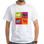 Bulldog Silhouette Pop Art White T-Shirt