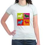 Bulldog Silhouette Pop Art Jr. Ringer T-Shirt