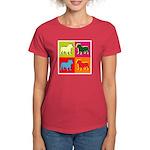 Bulldog Silhouette Pop Art Women's Dark T-Shirt