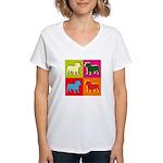 Bulldog Silhouette Pop Art Women's V-Neck T-Shirt