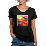 Bulldog Silhouette Pop Art Women's V-Neck Dark T-S