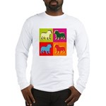 Bulldog Silhouette Pop Art Long Sleeve T-Shirt
