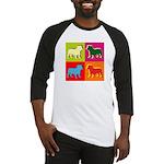 Bulldog Silhouette Pop Art Baseball Jersey