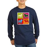 Bulldog Silhouette Pop Art Long Sleeve Dark T-Shir