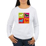 Bulldog Silhouette Pop Art Women's Long Sleeve T-S