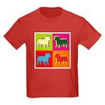 Bulldog Silhouette Pop Art Kids Dark T-Shirt