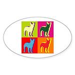Bullterrier Silhouette Pop Art Sticker (Oval 50 pk